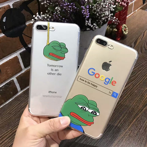 Soft Clear TPU Cool Funny Frog Pattern Cover For iphone X XS Max XR Case Cover - Just Cool Stuffs