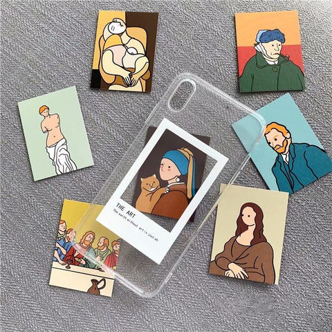 Oil painting card clear TPU phone Cases For iphone XS Max X XR XS for iphone 6 6s 7 8 plus Photo frame case - Just Cool Stuffs
