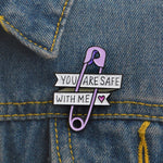 You Are Safe With Me ! Purple paper clip pin - Just Cool Stuffs