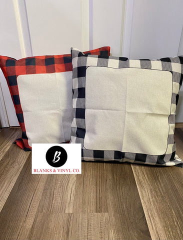 Buffalo Plaid Pillow Cover with Faux Burlap