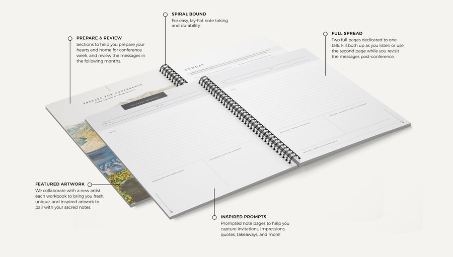October 2020 General Conference Workbook. Details of the workbook design and pages. Available in both perfect and spiral bound.