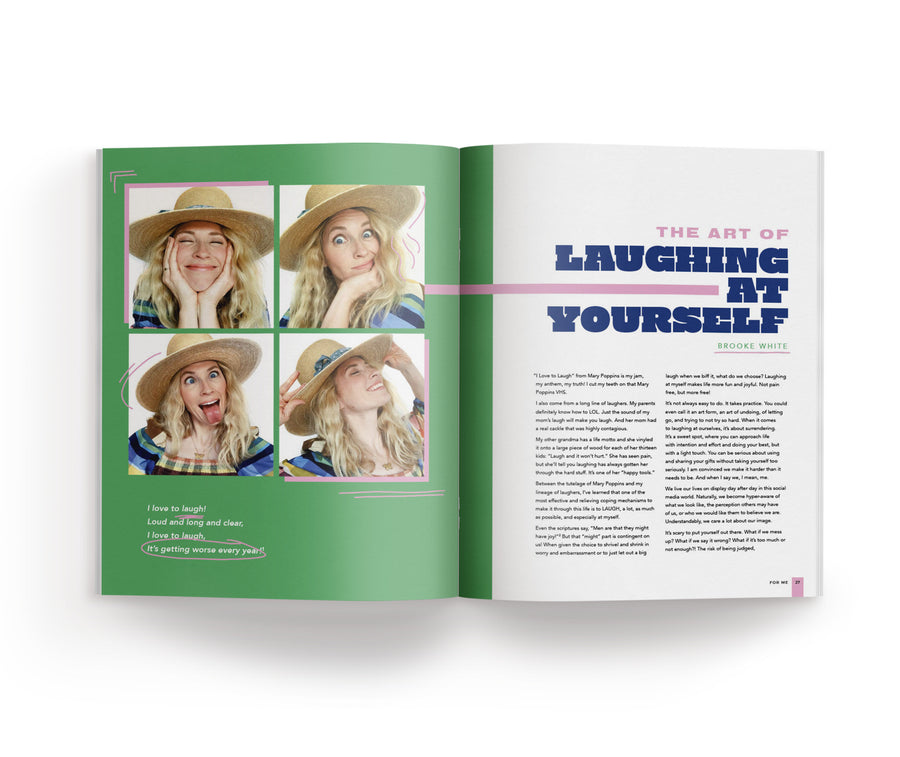 An open article of a women's magazine with bright colors and portrait pictures. The title is