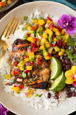 Jerk Chicken with Mango Salsa & Rice