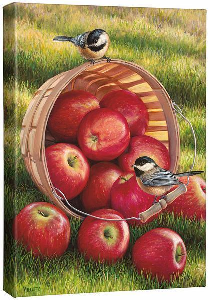 <I>1/4 Peck & Pair&mdash;chickadees And Apples</i> Gallery Wrapped Canvas