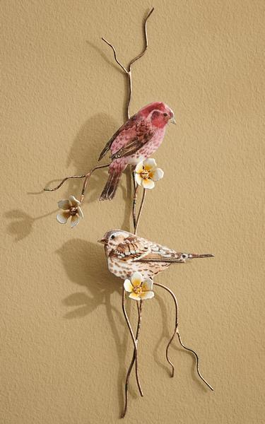 Purple Finches Enamel Wall Art