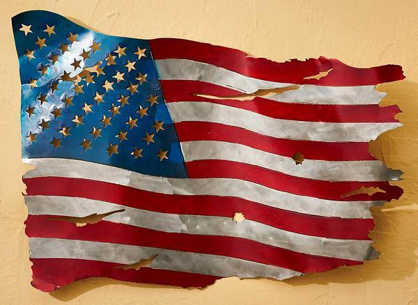 Weathered American Flag Metal Wall Art
