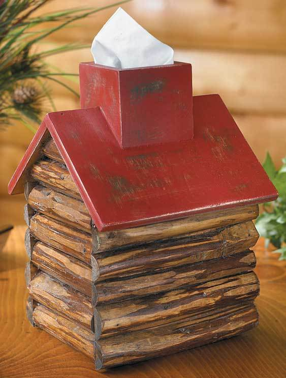 Red Roof Log Cabin Tissue Box Cover