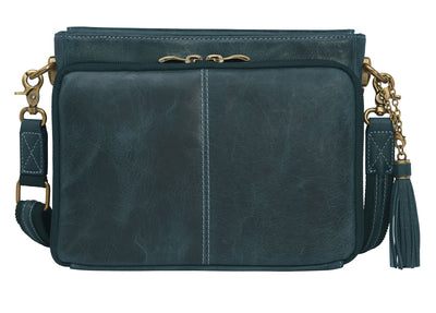 Leather Shoulder Clutch—Blue.