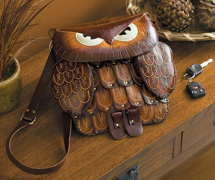 Large Brown Owl Leather Purse