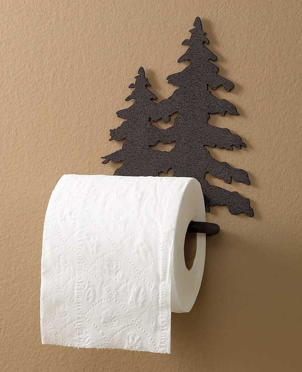 Black Pine Tree Toilet Paper Holder