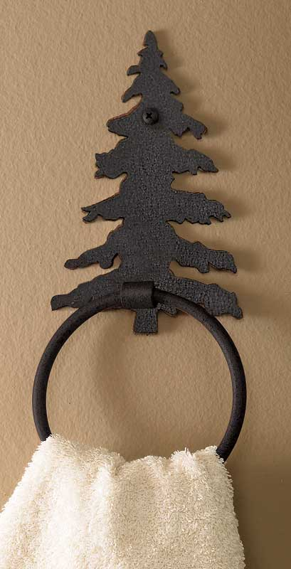 Black Pine Tree Towel Ring