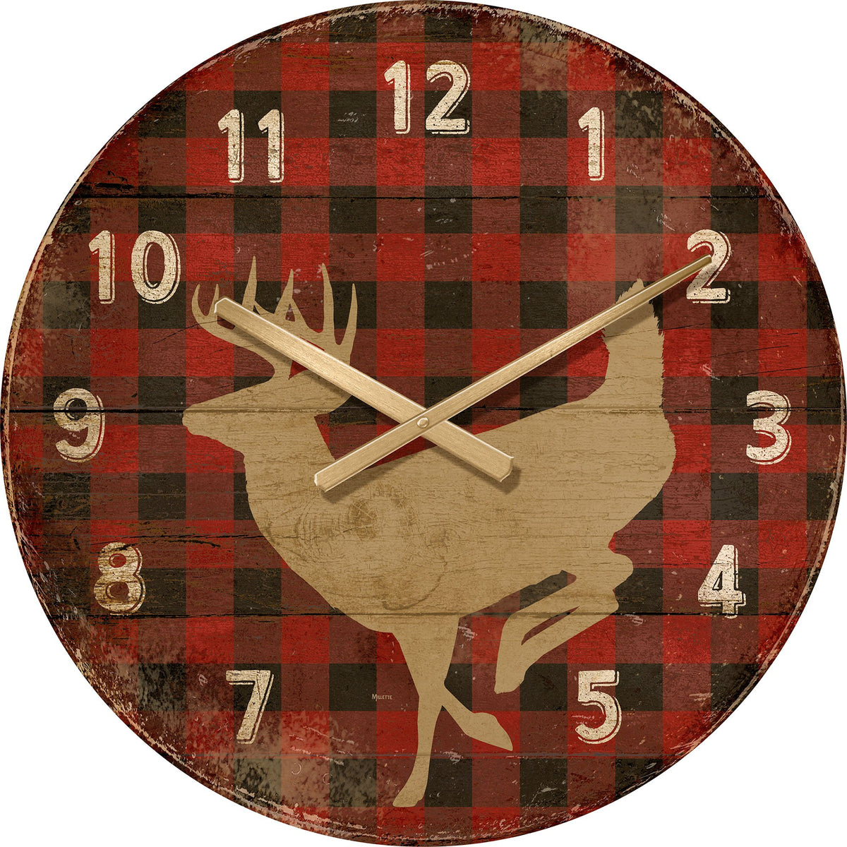 Deer on Red Plaid.