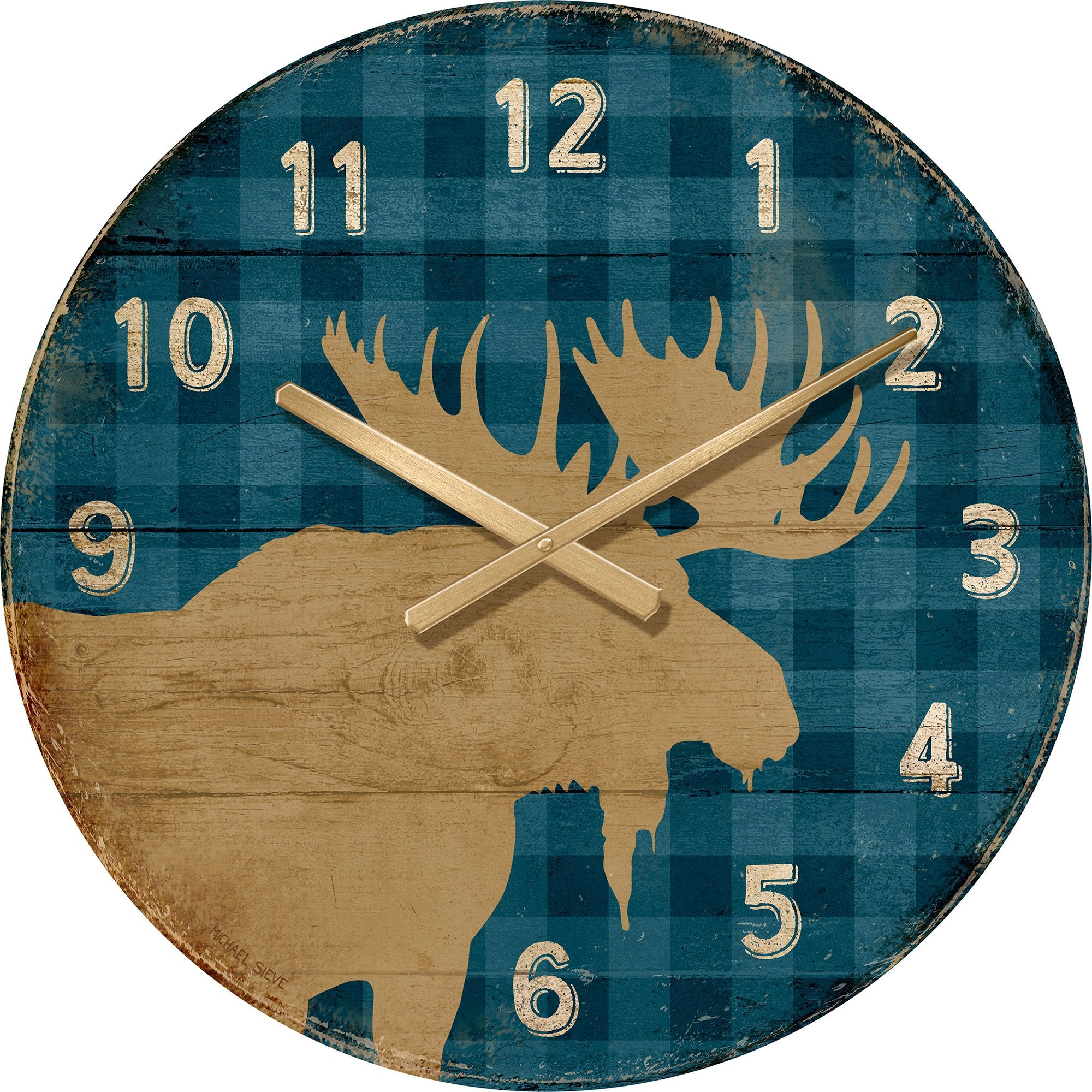Moose on Blue Plaid