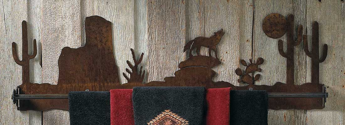Southwest Coyote Towel Bar