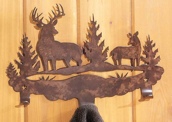 Deer 3-Hook Towel Rack