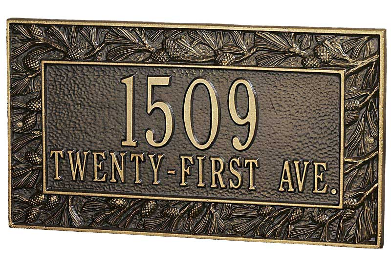 Pinecone-Black & Gold Address Plaque