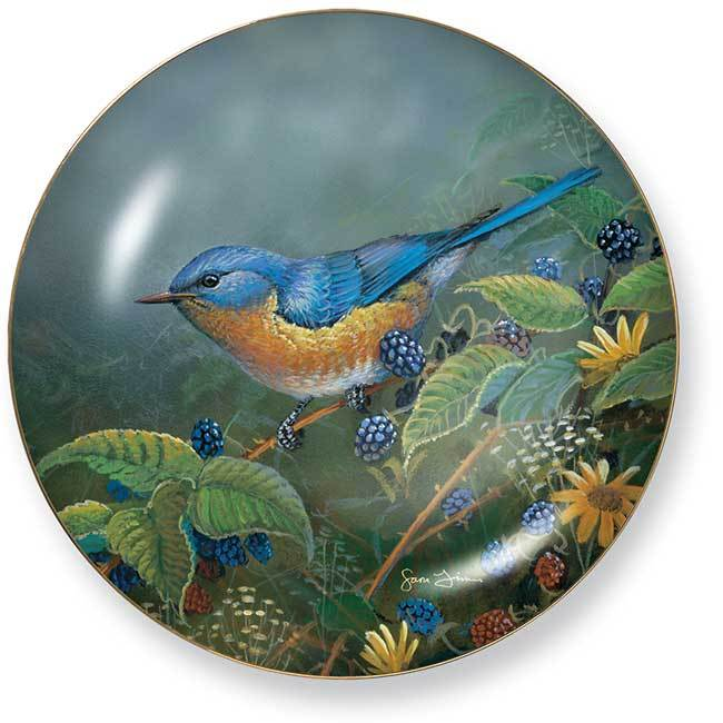 Berry Bush Lookout—bluebird Collector Plate