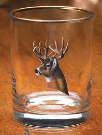 Whitetail Deer Portrait Double Old Fashioned Glasses