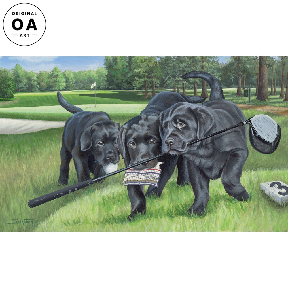 Golfing With My Friends—Black Lab Puppies.
