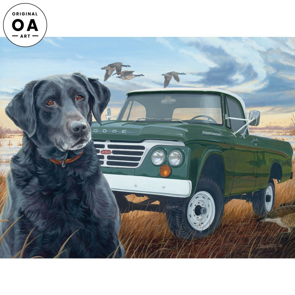 Old Dependable—Black Lab & Pickup Truck.