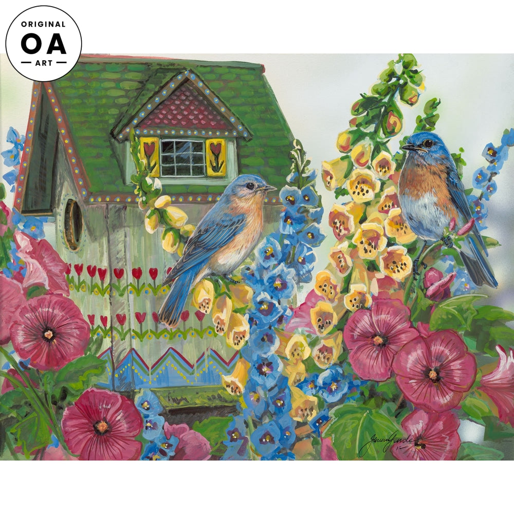 Country Cottage—Bluebirds Original Artwork