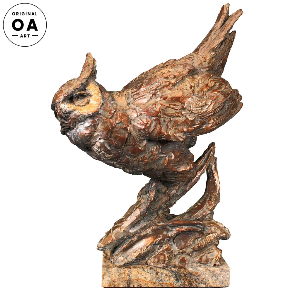 Arrival of Dusk-Great Horned Owl Original Bronze Sculpture