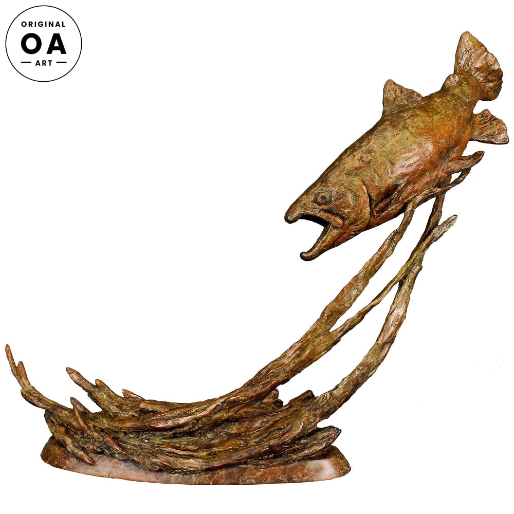 Out of the Shadows-Brown Trout Original Bronze Sculpture