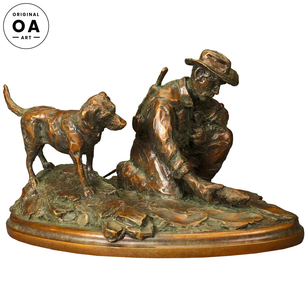 Riverside Rendezvous-Fisherman & Dog Original Bronze Sculpture