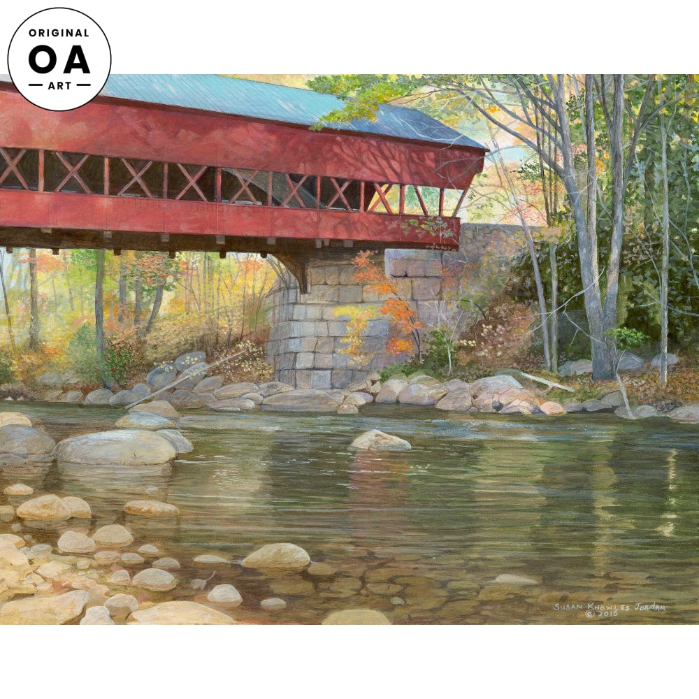 Calm Day-Swift River Bridge Original Acrylic Painting