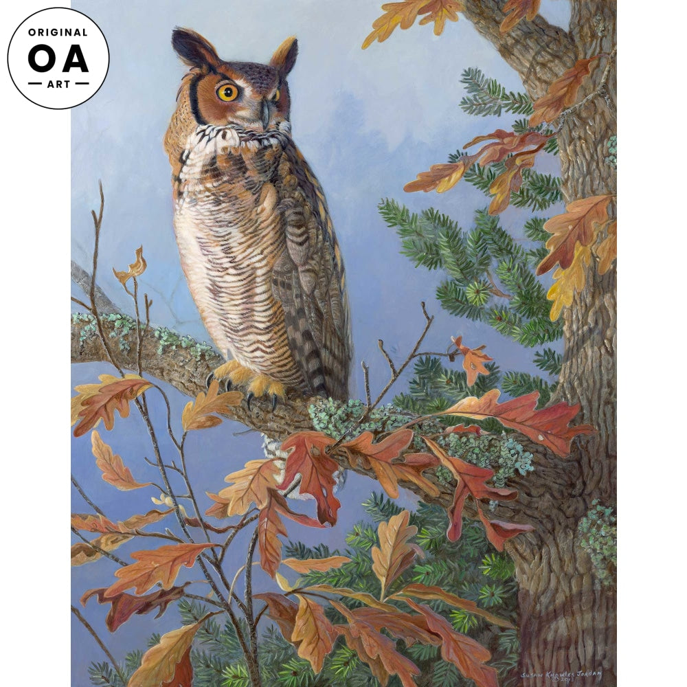Silent Observer—Great Horned Owl Original Artwork