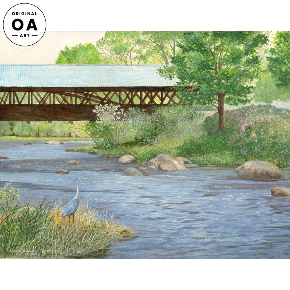 <i>Light Blue Rowell Bridge&mdash;Great Blue Heron</i> Original Artwork