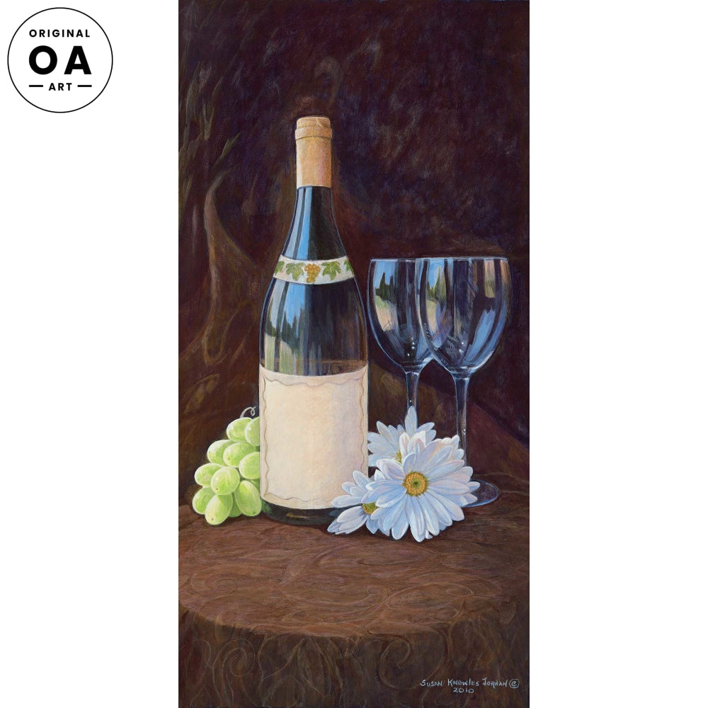 <i>Loves Me&mdash;Wine Bottle & Glasses</i> Original Artwork