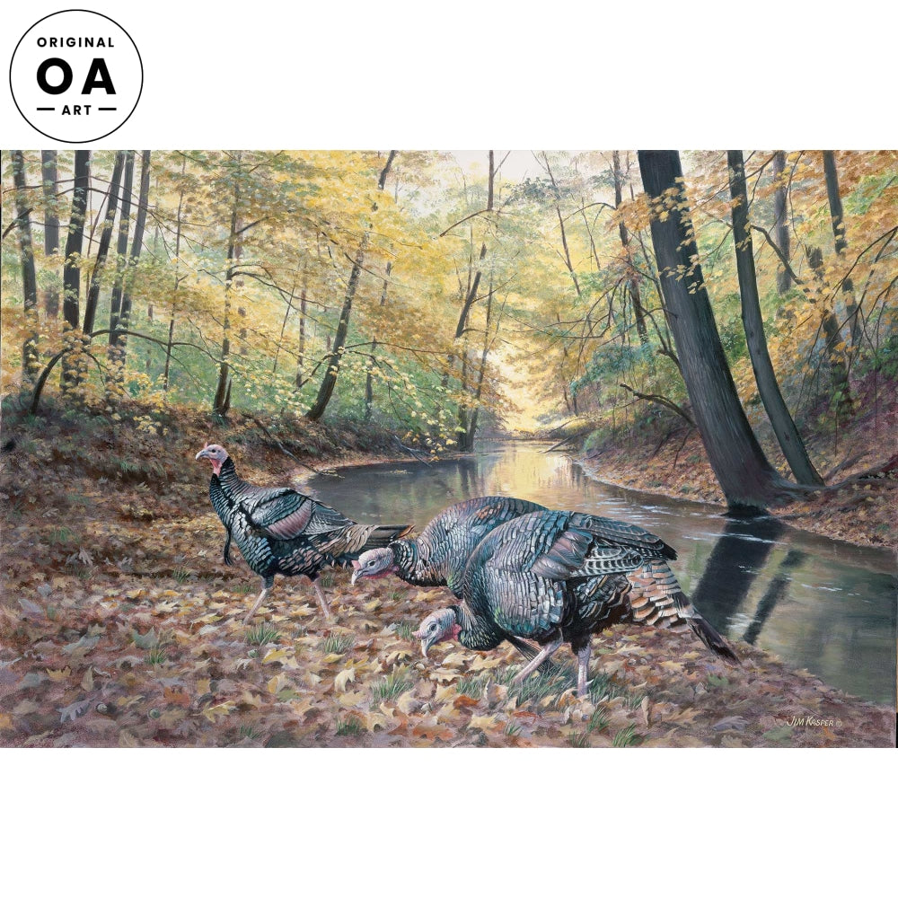Acorn Hunters-Turkeys Original Acrylic Painting