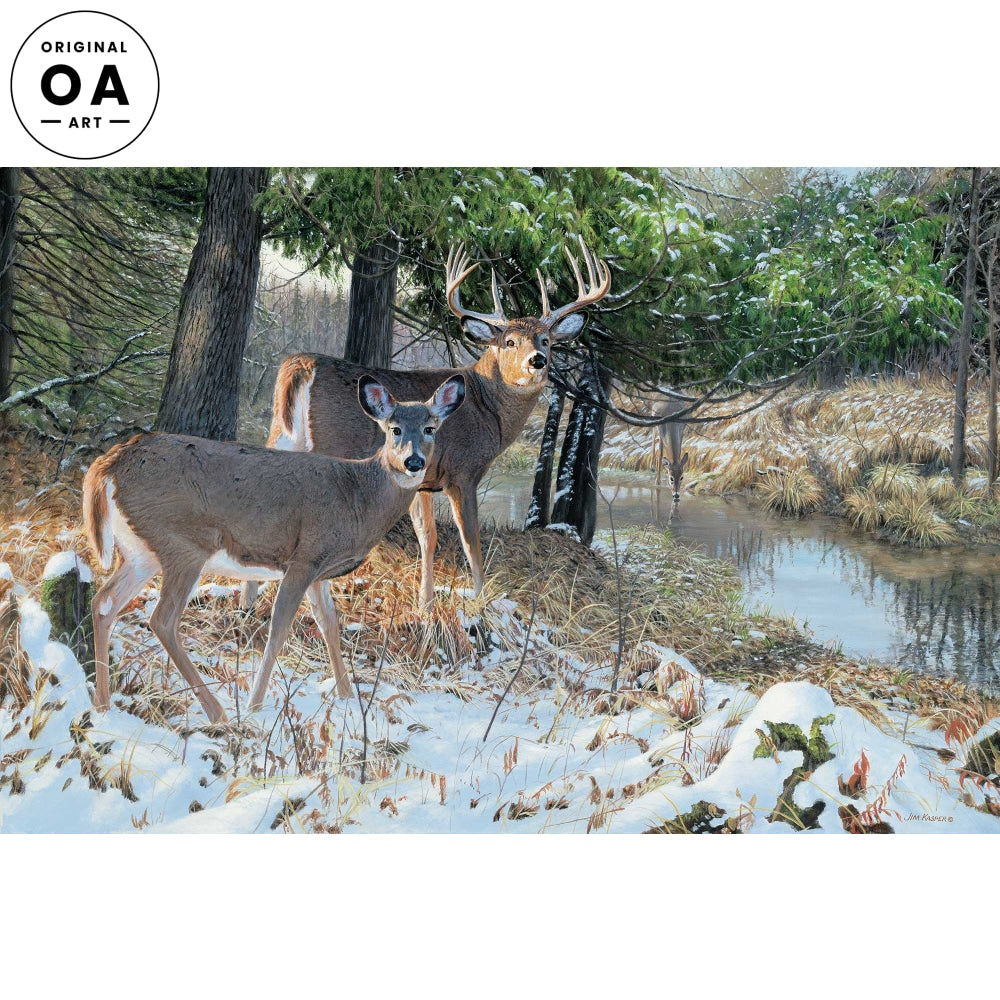 Bottomland Monarch-Deer Original Acrylic Painting