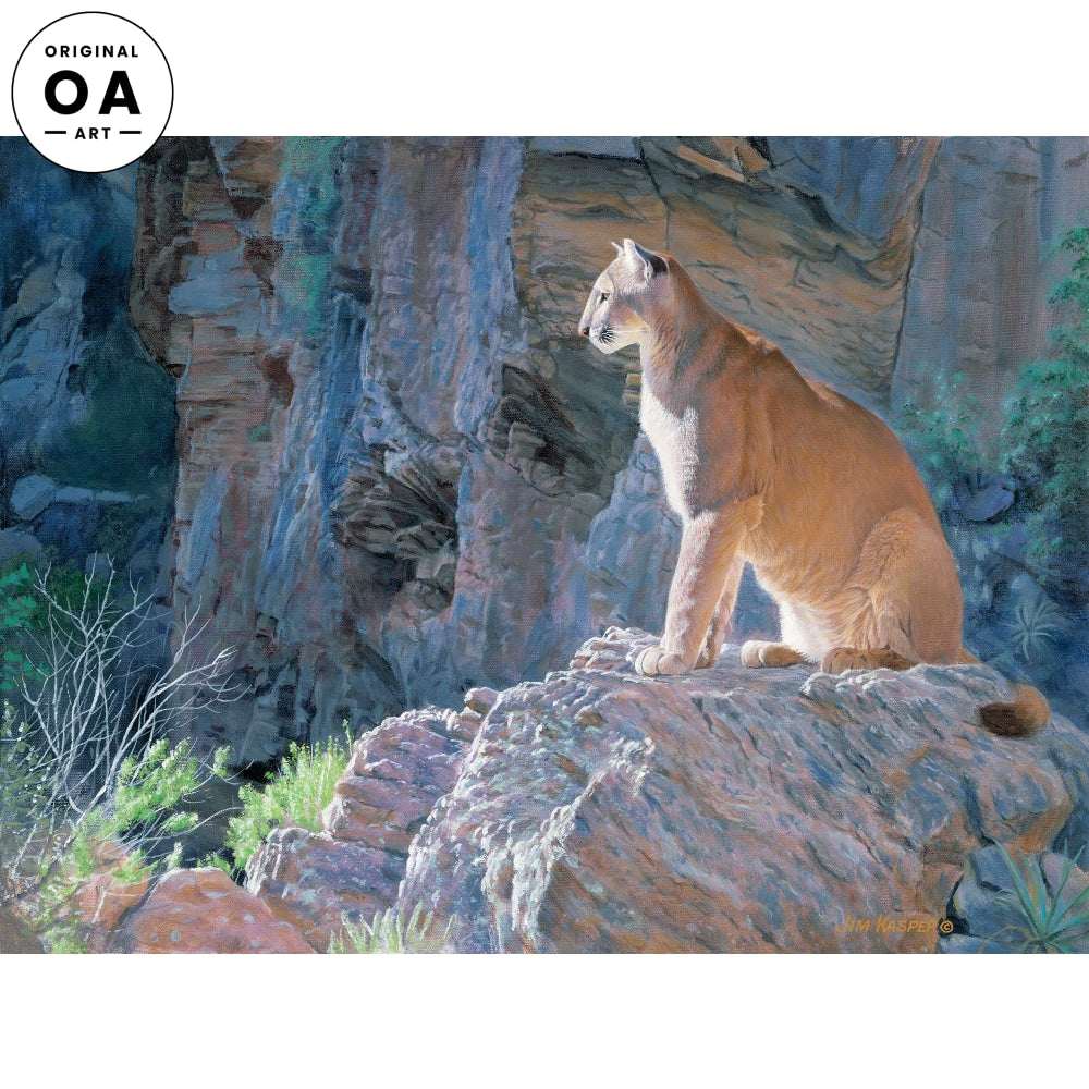 Canyon Glow-Cougar Original Acrylic Painting