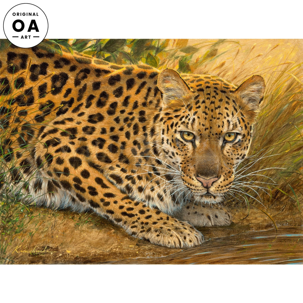 Sunrise at the Water—Leopard Original Art
