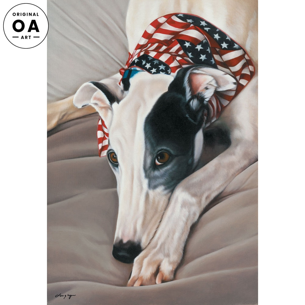Red, White and Grey-Greyhound Original Oil Painting