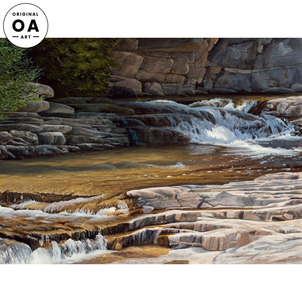 <i>Golden Waters&mdash;Waterfall on Rocks</i> Original Artwork