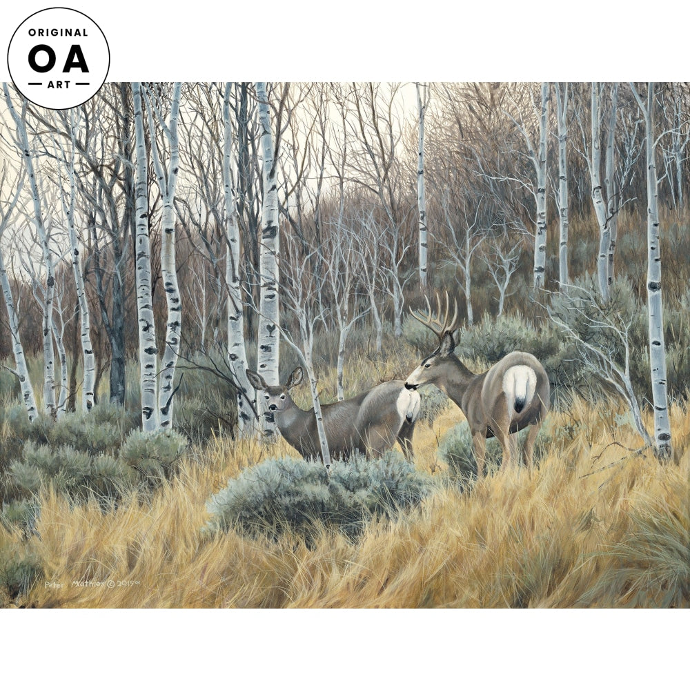 November Aspens—Mule Deer Original Artwork