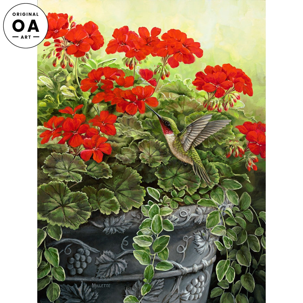 <i>Hummingbird & Geraniums</i> Original Artwork