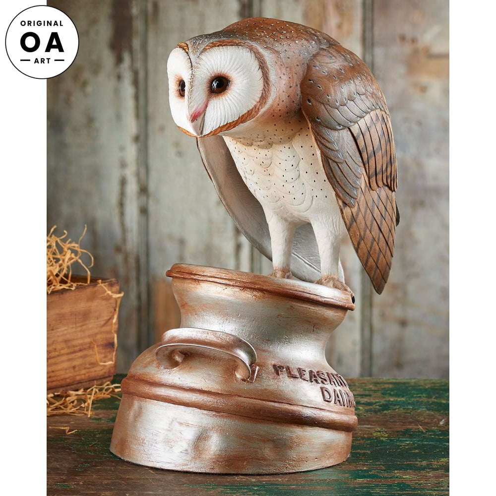 Barn Owl on Milk Can Original Wood Carving