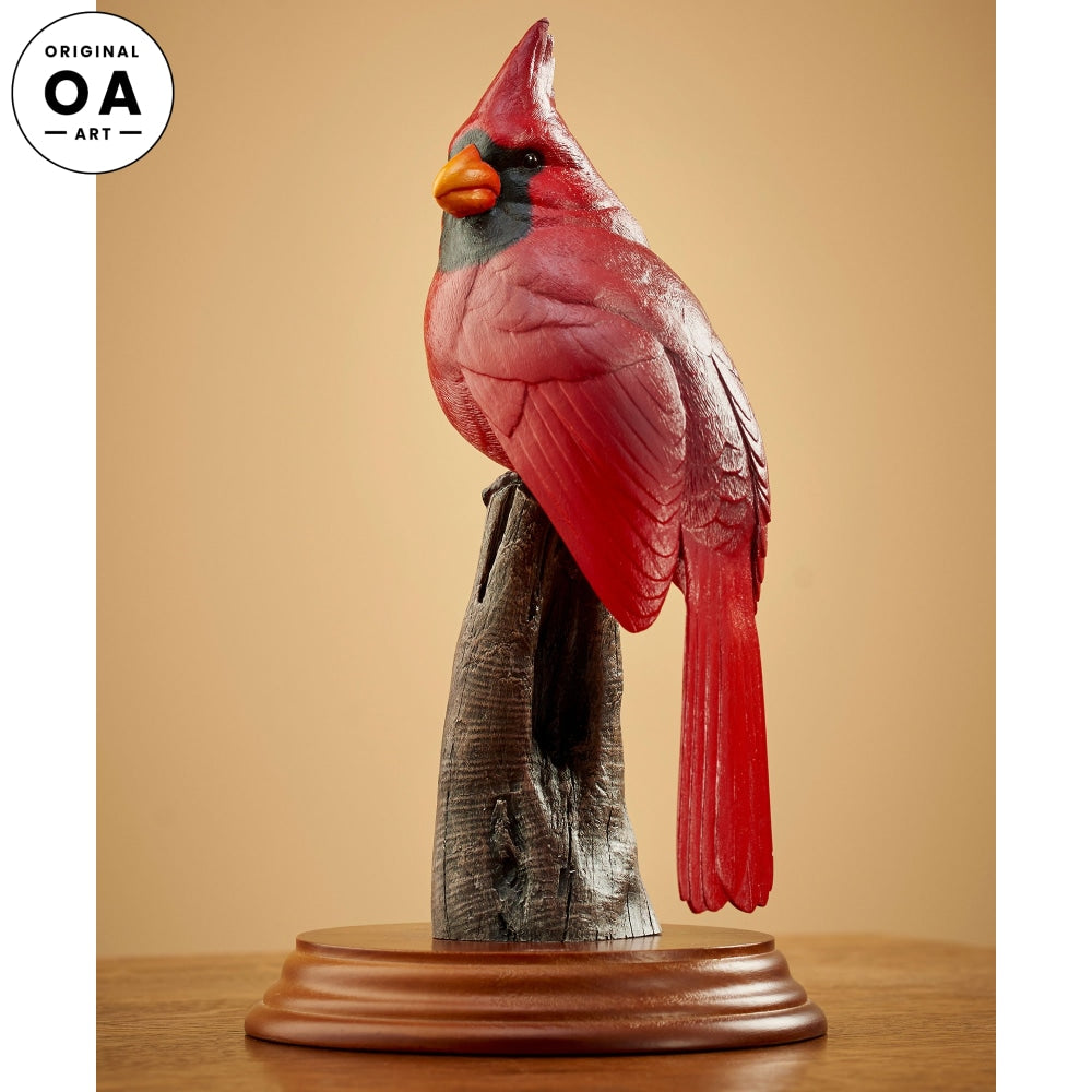 Cardinal Original Wood Carving