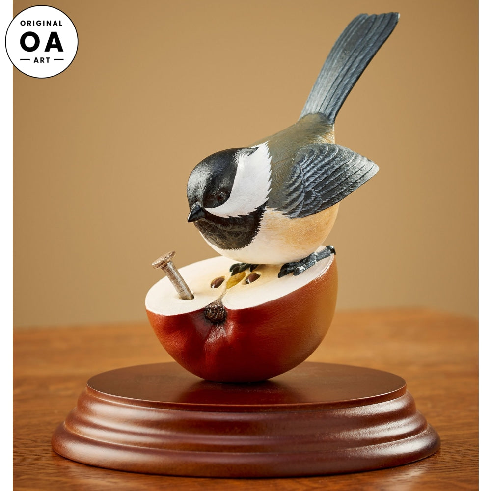 Chickadee on Apple Original Wood Carving