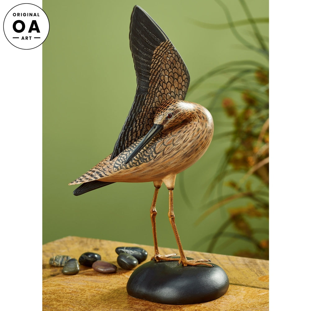 Preening Yellowlegs Shorebird Original Wood Carving