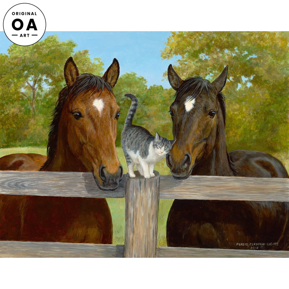 Fillies & Friend—Horses & Cat Original Artwork