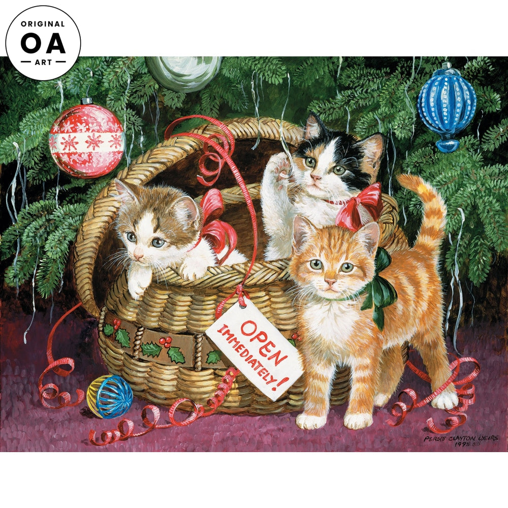 Holiday Basket—Kittens Original Artwork