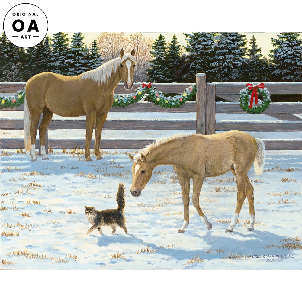 Just Passing Through—Horses & Cat Original Artwork
