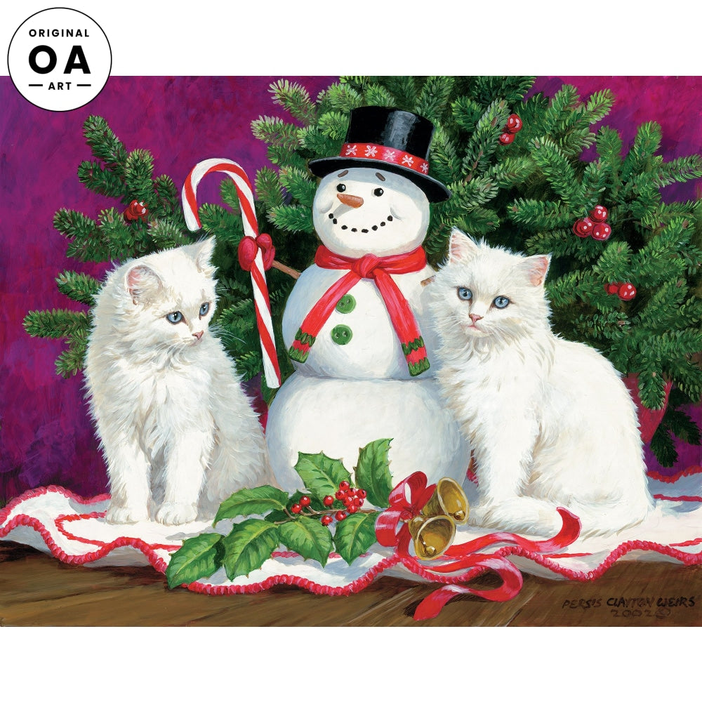 Little Snowmen—Kittens Original Artwork