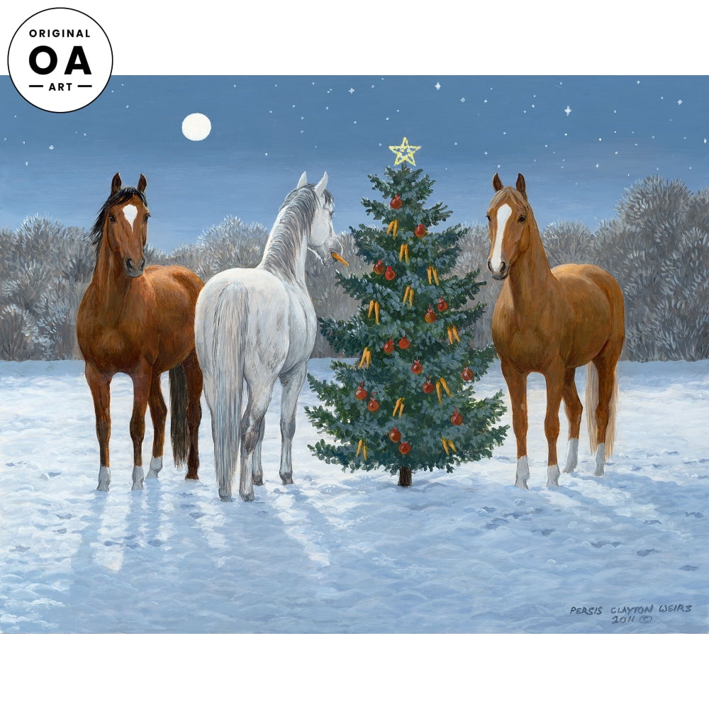 Moonlight Mischief I—Horses at Christmas.
