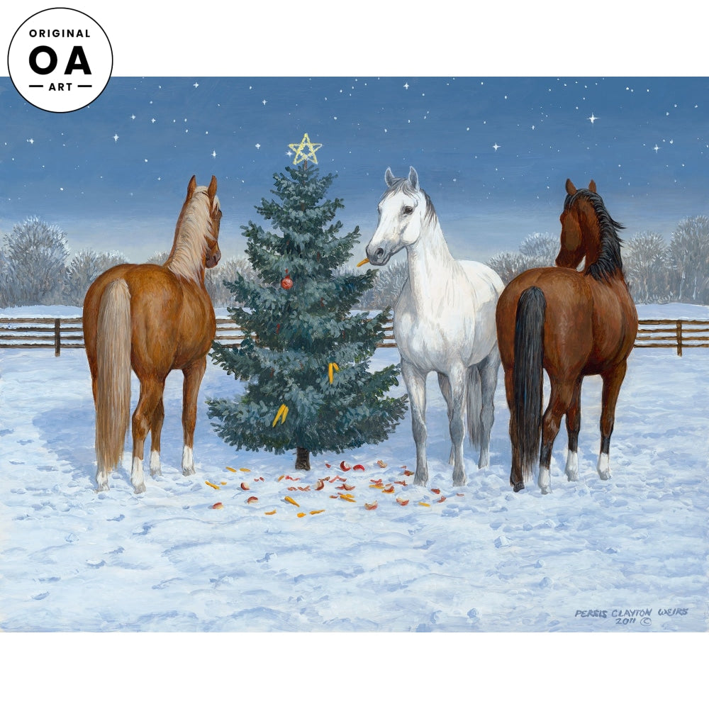 Moonlight Mischief II—Horses at Christmas.